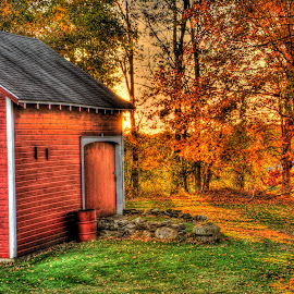 Fall Light by Stephen Goodhue - Buildings & Architecture Other Exteriors ( red barn, orange foliage, hdr, barn, foliage, fall, vermont, evening colors, green grass )