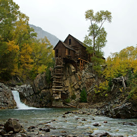 Crystal Mill by Justin Giffin - Buildings & Architecture Decaying & Abandoned ( water, history, fall colors, autumn, colorado, buildings, abandoned )