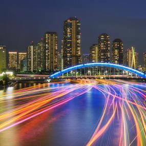 Color of Light by Nyoman Sundra - City,  Street & Park  Night ( japan, kayabacho, colorful, tokyo, city lights, night, light )