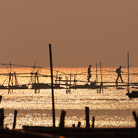 Sunrise at Tanjung Kait by Ridwan Handoyo - Landscapes Waterscapes ( sunrise, fisherman, golden )