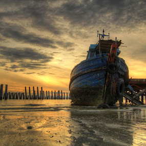 Abandoned Boat by Danny Tan - Landscapes Waterscapes ( hdr, penang, malaysia, penang 2nd bridge, sunrise, seascape )