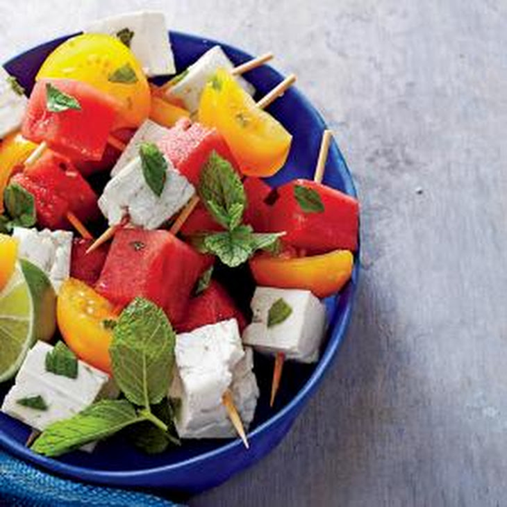 Tomato, Watermelon, and Feta Skewers with Mint and Lime Recipe ...