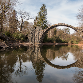 THE bridge by Robert Eckardt - Buildings & Architecture Bridges & Suspended Structures ( mirror, rhododendron, park, sachsen, bridge, landscape )