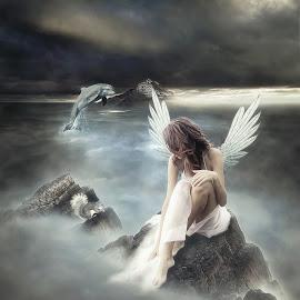 Bring Me The Higher by Ronny Overhate - Digital Art People ( dolphin, fantasy, fog, woman, digital art )