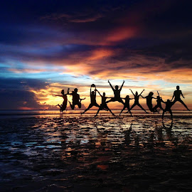 Twilight Jump! by Dick Shia - People Street & Candids ( sunset, action, teens )