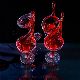 Tipsy Drinks by Steve Kazemir - Food & Drink Alcohol & Drinks ( black background, wine, splash, glass, spill, four, drinks, black )