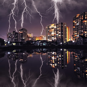 Shout of the heavens by Hiro Ytwo - City,  Street & Park  Skylines ( lightning, reflection, buildings, night, city )