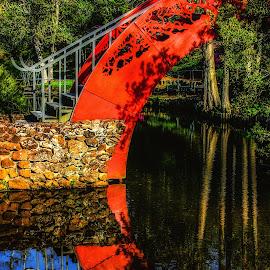 Japanese Garden Bridge by Dave Walters - Buildings & Architecture Bridges & Suspended Structures ( mystical, colors, bellingrath gardens, architecture, bridge )