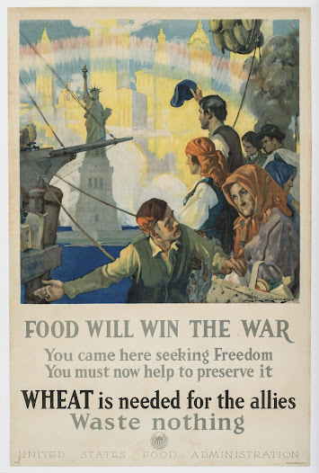 "This poster urges recent European immigrants to conserve food that could be sent to Europe, appealing to their love for their new country. View this print on the <a href=""http://wwww.gilderlehrman.org/history-by-era/world-war-i/resources/%E2%80%9Cfood-will-win-war%E2%80%9D-1917"">Gilder Lehrman website</a>."