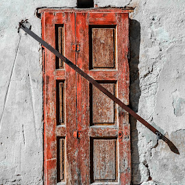 Bar the Door by Richard Michael Lingo - Buildings & Architecture Architectural Detail ( doors, red, buildings, architecture, slovakia )