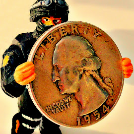 Close Encounters Of The Nerd Kind by Vince Scaglione - Artistic Objects Toys ( coins, coin, silver, money, toy soldier, quarter, currency )