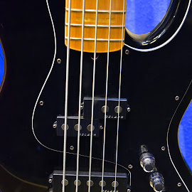 Black On Blue by Marco Bertamé - Artistic Objects Musical Instruments ( music, curve, blue, electric, string, curved lines, brown, guitar, straight, knob, black )