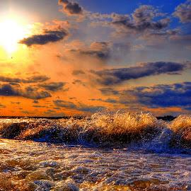 Waves by Derrill Grabenstein - Landscapes Sunsets & Sunrises