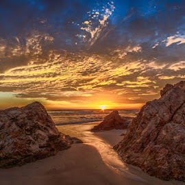 Sunrise by Dom Del - Landscapes Sunsets & Sunrises ( clouds, sand, beach, sunrise, rocks, sun )