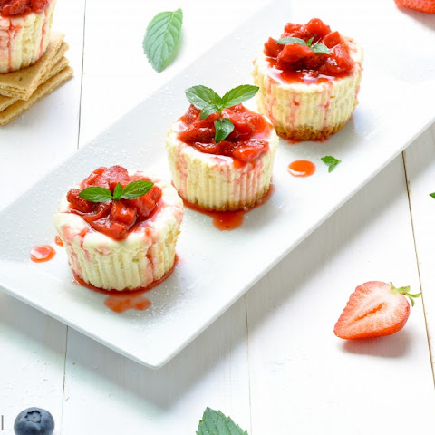 Light Strawberry Topped Mini Cheesecake Cupcakes