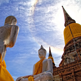Buddha and rainbow by Cathy Tang - Landscapes Travel ( bangkok, temple, ayutthaya, yellow, landscapes, rainbow, buddha )