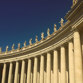 Vatican collonade. by Martina Frnčová - Uncategorized All Uncategorized ( collonade, pillars, statues, st peter square, vatican, arch, architecture,  )