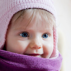 Winter by Michael Krivoshey - Babies & Children Child Portraits ( face, big eyes, christmas, children, child portrait, kids, cute, people, newborn, portrait, kid, eyes, child, winter, girl, sweet, ukraine, blue, female, family, blue eyes, adorable, baby, scarf )
