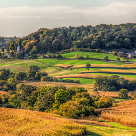Rural America by Tom Weisbrook - Landscapes Prairies, Meadows & Fields ( farm, americana, hills, cornfields, dubuque county, iowa, autumn, farmland )