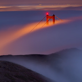 Golden Gate Bridge. by Dustin Penman - Buildings & Architecture Bridges & Suspended Structures ( dustin, fog, full moon, night, bridge, landscape, penman, golden, gate, city )