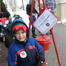 Red Kettle Elf by Rita Goebert - Babies & Children Children Candids ( volunteering; salvation army; cold; winter; caring )