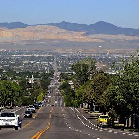 11400 South by Tony Huffaker - City,  Street & Park  Vistas ( mountains, utah, salt lake valley, vista, street, city )