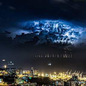 Bay Storm by Idan Presser - Landscapes Weather ( lightning, cranes, bay, blue, pwcfoulweather, stacking, dark, night, storm, composite )
