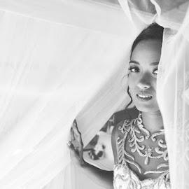 In the Veil by Andrew Morgan - Wedding Bride ( love, zanzibar, black and white, wedding, destinationwedding, veil, bride )