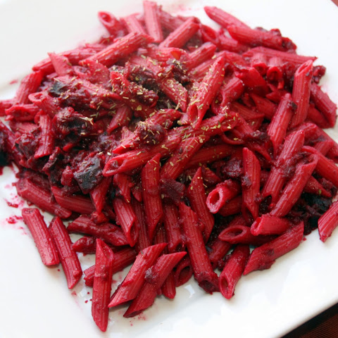 Roasted beet pasta with Barilla pasta