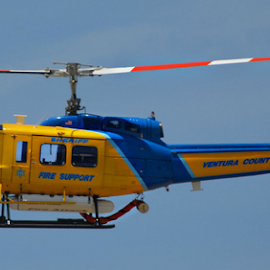 Huey by Deborah Russenberger - Transportation Helicopters ( helicopter, huey hog, blue, yellow )