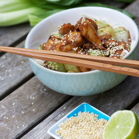 Chicken Teriyaki With Udon Noodles, Pak Choi, And Sesame.