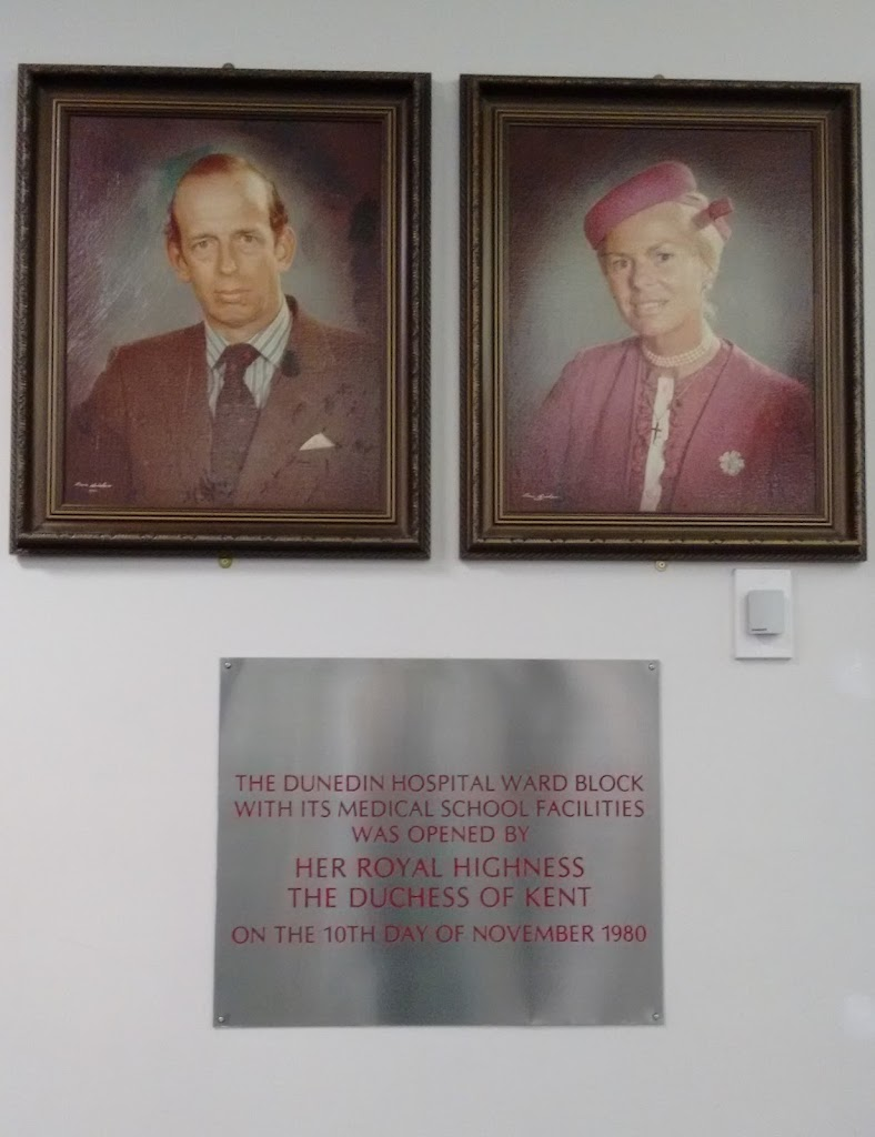Found in the foyer of Dunedin Public Hospital Transcription:The Dunedin Hospital Ward Block with its Medical School facilities was opened by Her Royal Highness the Duchess of Kent on the 10th day of ...
