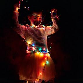 Enlightenment by Nicu Buculei - Babies & Children Child Portraits ( lights, xmas, christmas, portrait,  )