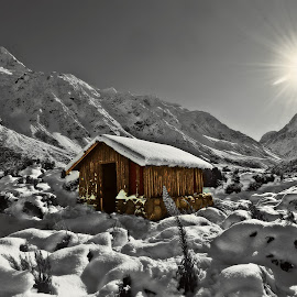 The Hut by Jomy Jose - Digital Art Places ( south island, mt.cook, hooker valley track, hut, new zealand )