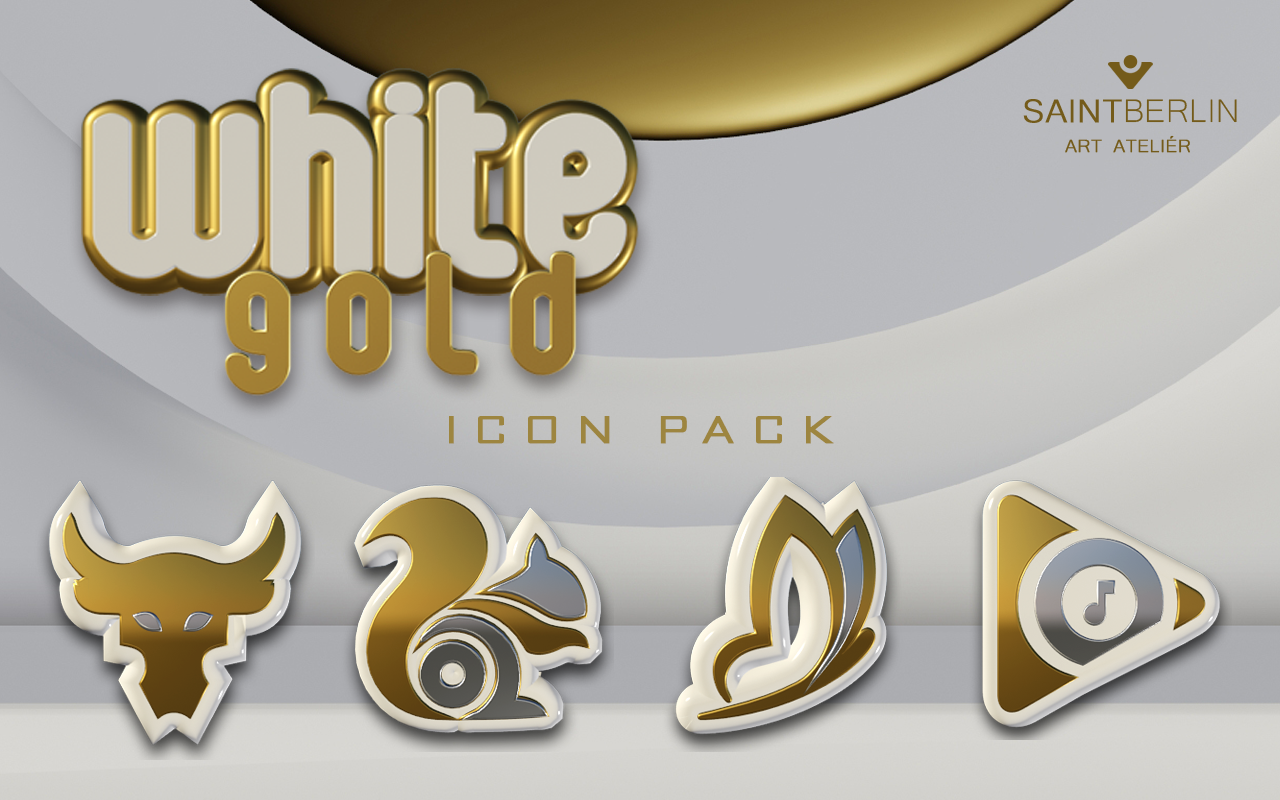 Icon Pack White Gold 3D Screenshot 7