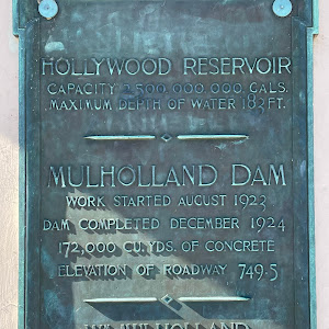 Hollywood ReservoirCapacity 2,500,000,000 Gals.Maximum Depth of Water 183 Ft.Mulholland DamWork started August 1923Dam completed December 1924172,000 cu. yds. of concreteElevation of roadway ...