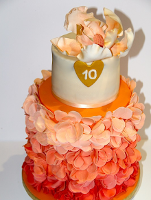 Peach 10th Anniversary Cake