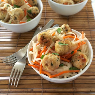 Gluten-Free Thai Turkey Meatballs with Rice Noodles