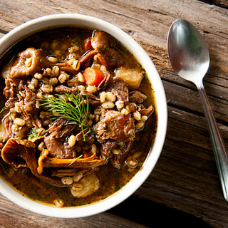 Snow Goose Stew With Barley And Mushrooms