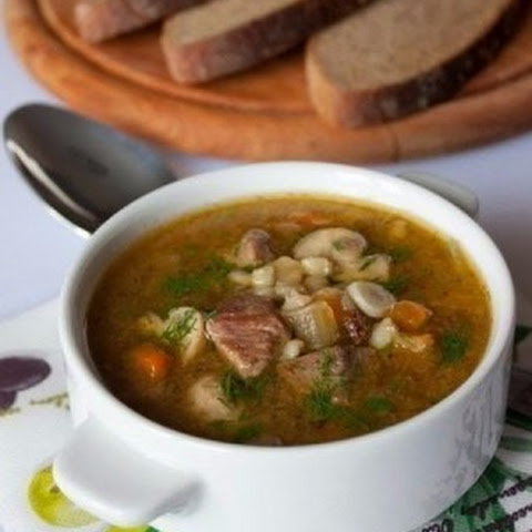 Beef Soup With Mushrooms And Pearl Barley