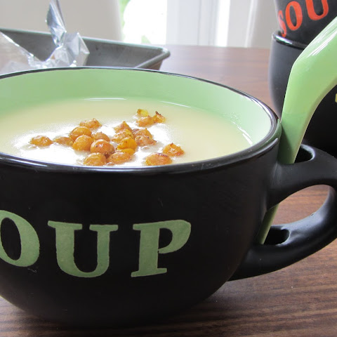 Potato and Roasted Garlic Soup with Curried Chickpea Croutons