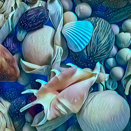 Sea Bounty by Gia Gee - Digital Art Things ( sea shells, sea bounty, ocean bounty, virtual sea bounty, virtual ocean bounty )