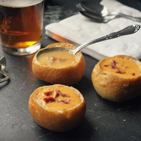 Beer And Cheddar Cheese Soup In Mini-bread Bowl