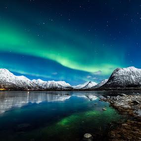Moonlight and Aurora over Vidbukta by Jens Andre Mehammer Birkeland - Landscapes Mountains & Hills ( reflection, winter, ice, snow, aurora borealis, landscape, moonlight,  )