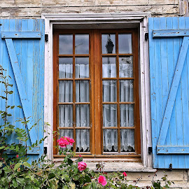 Window by Dobrin Anca - Buildings & Architecture Architectural Detail ( village, window, blue, brown, normandy )