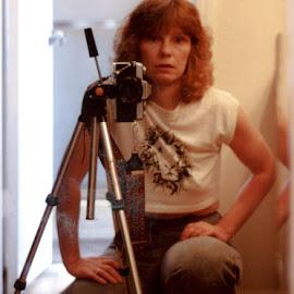 by Jennifer  Loper  - People Portraits of Women ( 1986, hair, mirror, me, tri-pod, minolta, 35mm, jeans )