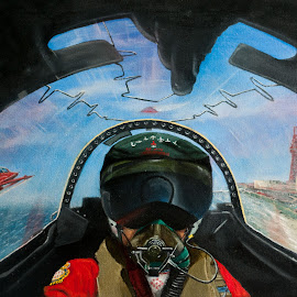 by Paul James - Painting All Painting ( flying, arrows, red, aeroplane, aircraft )