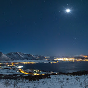 Sortland city by Benny Høynes - Landscapes Travel ( moon, landscape, landscapes, norway, city )