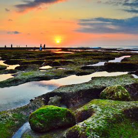 Balangan Beach Sunset by Ade Yuda - Landscapes Waterscapes
