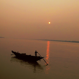 Sunset by Ritwik Das - Transportation Boats